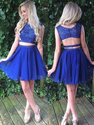 Chiffon Scoop Short/Mini Royal Blue Dresses
