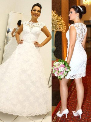 Ball Gown Scoop Sleeveless Floor-Length Lace Wedding Dresses