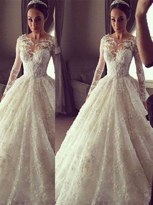 Ball Gown Scoop Long Sleeves Court Train Lace Wedding Dresses