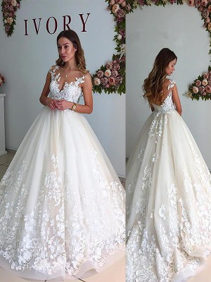 A-Line/Princess V-neck Sleeveless Court Train Tulle Wedding Dresses