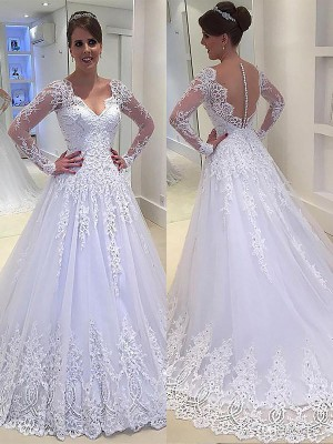 A-Line/Princess V-neck Long Sleeves Court Train Tulle Wedding Dresses with Applique
