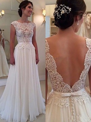 A-Line/Princess Scoop Sleeveless Sweep/Brush Train Chiffon Wedding Dresses with Applique