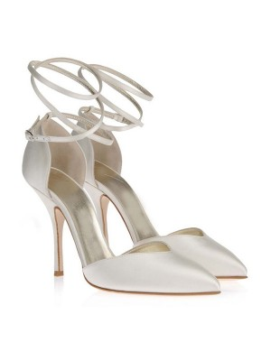 Satin Closed Toe Stiletto Heel White Wedding Shoes