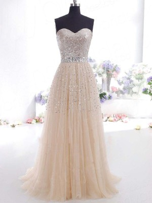 A-Line/Princess Sweetheart Sleeveless Sweep/Brush Train Tulle Dresses